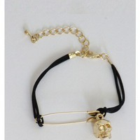 Safety Pin Skull Black Bracelet