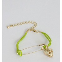 Safety Pin Skull Lime Bracelet