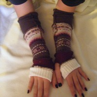 Brown Pink and Ivory Upcycled Sweater Armwarmers
