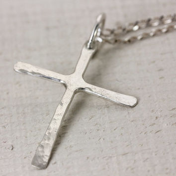 Handmade Sterling Silver Cross - Minimalist - Hand Forged Repurposed Sterling Silver by Christina Guenther