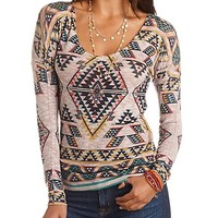 LONG SLEEVE AZTEC PRINT TOP