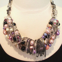 Statement necklace pearl necklace bib necklace beaded necklace mixed chains necklace black silver necklace pink purple- Celebration Necklace