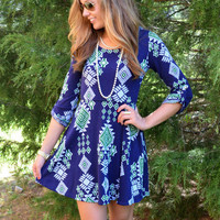 Colors Of The Wind Navy & Green Tribal Dress