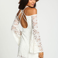 STRAPPY OFF SHOULDER LACE DRESS