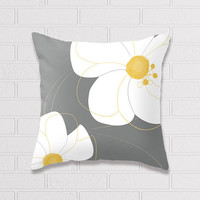 White Flowers with gray background . Pillow Cover, Cushion Cover, Pillow Case, small , medium , big.