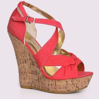 Bamboo Driven-83 Knotted Strappy Cork Wedge @ FrockCandy.com