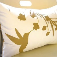 Mustard Print on Off White Cotton Hummingbird with Eucalyptus Rectangle Pillow