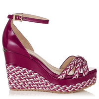 Dark Orchid Patent and Woven Raffia Wedges | Parrot | Autumn Winter 14 | JIMMY CHOO Shoes