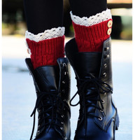 Knit Boot Topper Lace  Trim Legwarmers Red Knit  Leg  Warmers Boot Warmers Stocking Stuffer - By PiYOYO