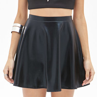 FOREVER 21 Faux Leather Skater Skirt Black
