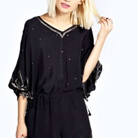 Boutique Lacie Scalloped Beaded Playsuit