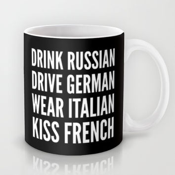 Russian German Italian French (Black & White) Mug by CreativeAngel | Society6