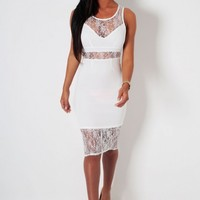 Candescence White Lace Panel Midi Dress | Pink Boutique