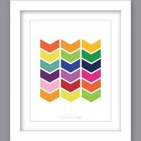 Sale 25% Off - Print Chevron Rainbow (8X10) Unframed