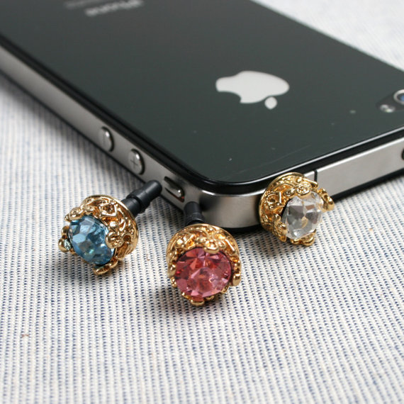 Crystal Crown Earphone Dust Plug Cellphone Charm iPhone Accessories (Choose 1 color)