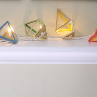 White Mini String Lights - Geometric Paper Diamonds - 20 Party Bulbs
