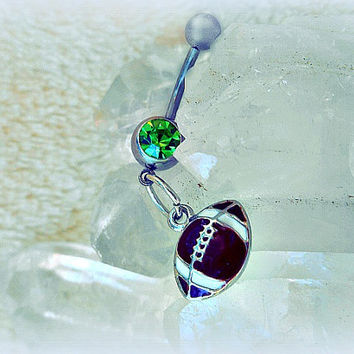 Green Football Belly Ring, Trending Belly Ring, Sports Belly Ring, Football Piercing, Athletic, Athlete, Navel, Belly Button, Fall