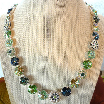 Swarovski crystal necklace, 12mm green and blue, embellished, Designer inspired Siggy bling