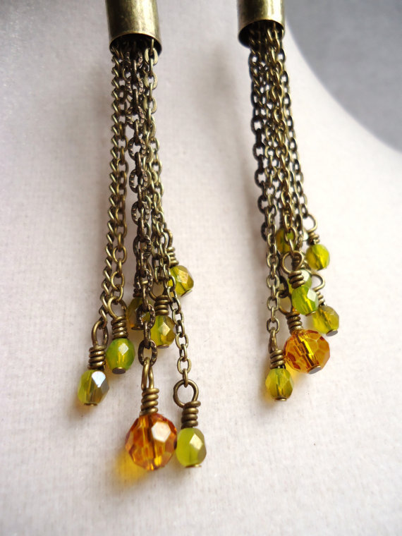 Bronze Chain Earrings Ending With Bright Green & Amber Czech Glass Beads - Autumn