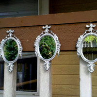 Oval Wall Mirror Set of Three in Shiny Silver