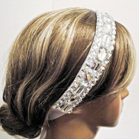 Free Shipping: White Crystals and Rhinestone Embellished Headband- Hair Accessory, Bridal