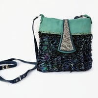 Small crossbody purse, turquoise and black leather crossbody bag, boho purse, blue leather bag