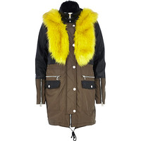 Khaki leather-look panel parka jacket - parkas - coats / jackets - women