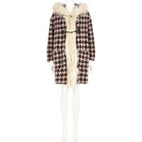 Dark red houndstooth duffle coatigan - coats - coats / jackets - women