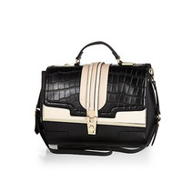 Black mock croc color block structured bag - shopper / tote bags - bags / purses - women