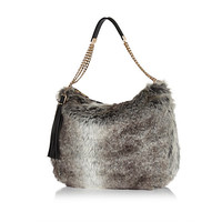 Black faux fur slouch bag - shoulder bags - bags / purses - women