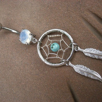 Turquoise Dream Catcher Belly Button Jewelry Ring Navel Opal Piercing Long Feather Charm Dangle Dreamcatcher Bar Barbell