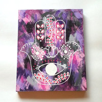 hamsa hand bohemian fashionable acrylic canvas painting for trendy girls room, dorm room, or home decor
