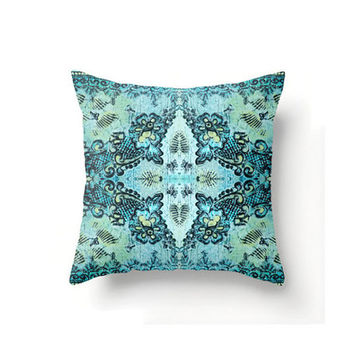 Square Pillow Cover in a  boho rose lace pattern in aqua and mint, indoor or outdoor throw pillow covers in 16 x 16, 18 x 18 or 20 x 20 inch
