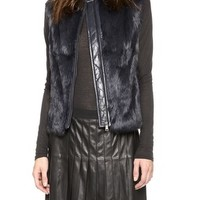 Quilted Leather & Fur Vest