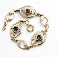 Vintage 10k Yellow & Rose Gold Filled Simulated Emerald Bracelet - 1940s Green Glass Stone Flower Motif Two Tone Hallmarked Iskin Jewelry