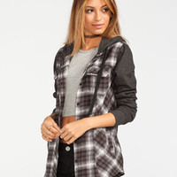 Metal Mulisha Trucks Womens Hooded Flannel Shirt Black  In Sizes