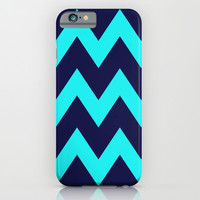 Chevron Navy Turquoise iPhone & iPod Case by Beautiful Homes