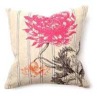 Second Nature Arcadia Flr Emb Pink Orange Pillow