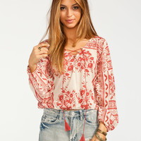 Full Tilt Boho Print Elastic Hem Womens Peasant Top Cream Combo  In Sizes