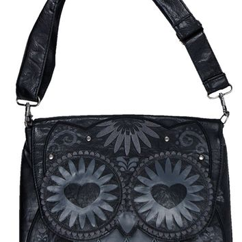 Owl with Heart Eyes Crossbody Bag in Black | Blame Betty