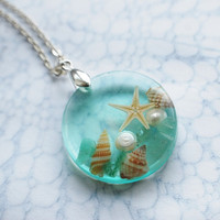 The Mermaid's Necklace 09 Nautical Jewelry Resin Starfish Tiny Seashells Pearl Aqua Specimen Necklace Fairy Tale Fantasy Unique Handmade
