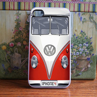 iPhone case VW Bus in Red iphone 4 and iphone 4s cover volkswagen