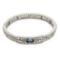 Inspired by Downton Abbey Silver Stretch Bracelet with Blue Sapphire and Crystal