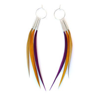 Long Interchangeable Feather Earrings with Eggplant Purple, Mustard Yellow and Champagne Beige Plumes - READY TO SHIP