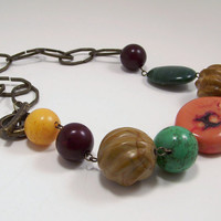 African Amber, Pumpkin Orange Coral, Green Magnesite, Jade and Nutshell Brown Stone Beaded Necklace with Chunky Link Brass Chain