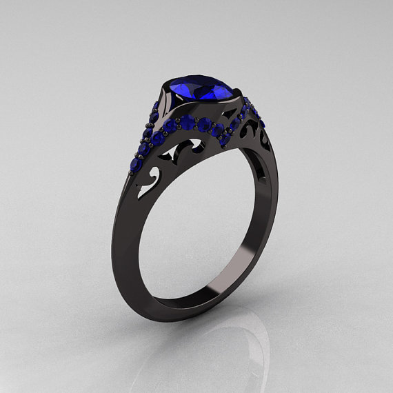 Classic 14K Black Gold Oval Blue Sapphire from artmasters on Etsy
