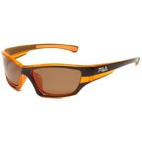 Fila SF007P Polarized Sport Sunglasses, Brown & Orange Frame/Brown Lens, One Size