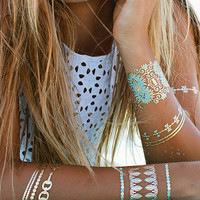Blue Lagoon Temporary Tattoos - One Size / Gold