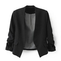 Zacoo Women's Folding Sleeve Office Blazer