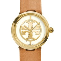 Tory Burch 'Reva' Logo Dial Leather Strap Watch, 28mm | Nordstrom